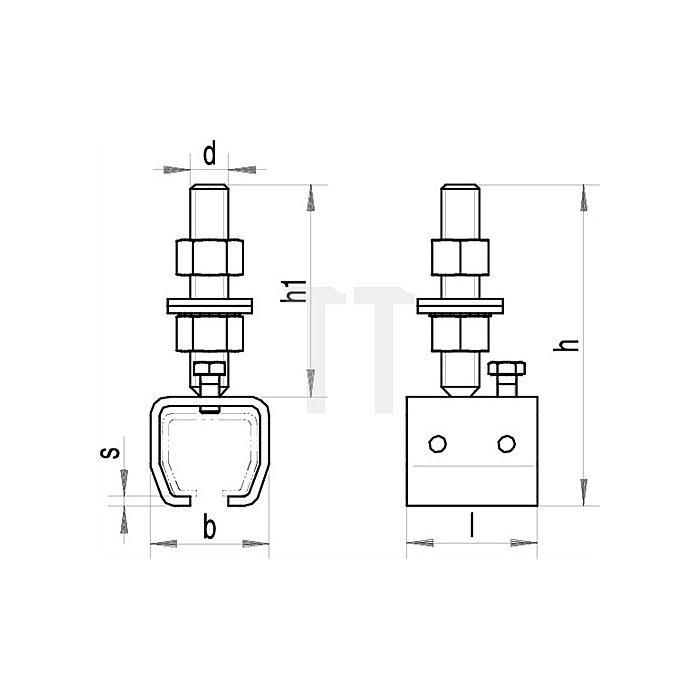 Muffe 304 passend für Profil 300 höhenverstellbar galvanisch verzinkt