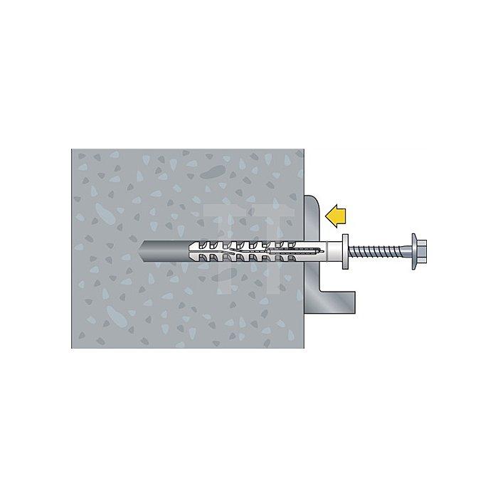 Multifunktionsrahmendübel MFR FB 10-100 SSKS Flachbund m.6-kantschraube vormont.