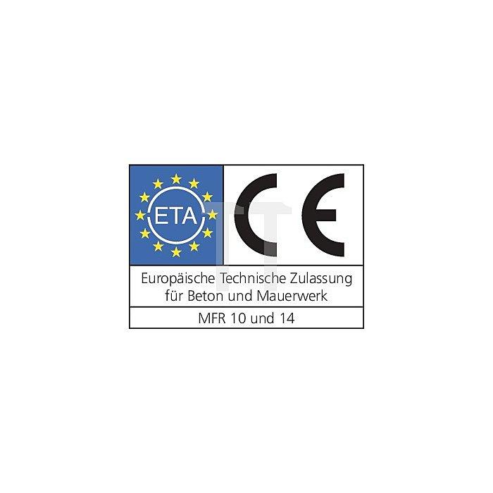 Multifunktionsrahmendübel MFR FB 8-80 SSKS galv. verz., ETA-Zul. für Beton u MW