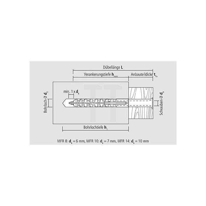 Multifunktionsrahmendübel MFR SB 10-80 SSKS Senkbund m. 6-kt. Schraube vormont.