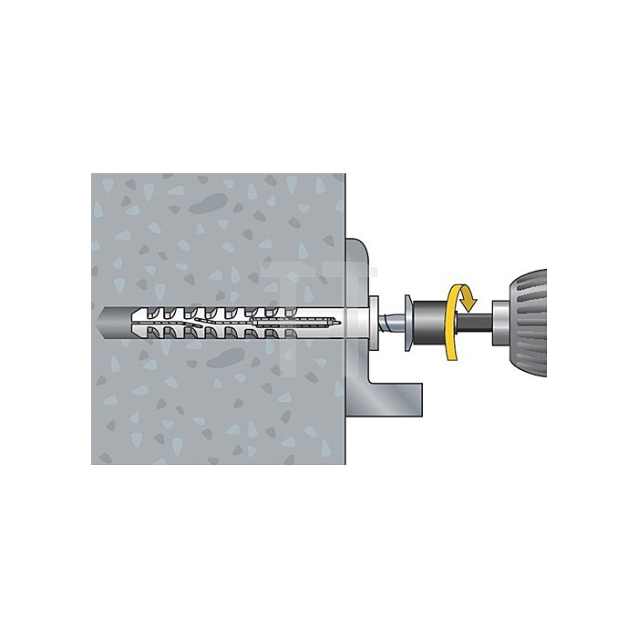 Multifunktionsrahmendübel MFR SB 8-120 TX A4 Senkbund mit Torxschraube vormont.