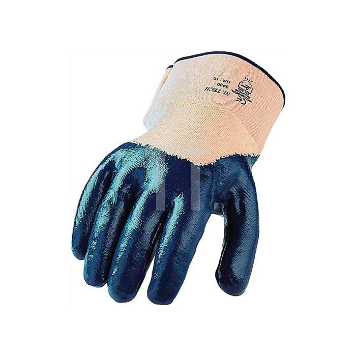 Nitrilhandschuh Ni.Tech Gr. 9 blau teilbeschichtet mit Stulpe