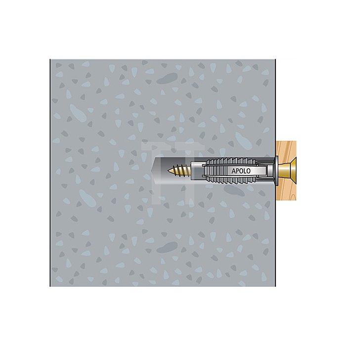 Normaldübel FX 8 mit Spanplattenschraube 5,0x60 apolo MEA