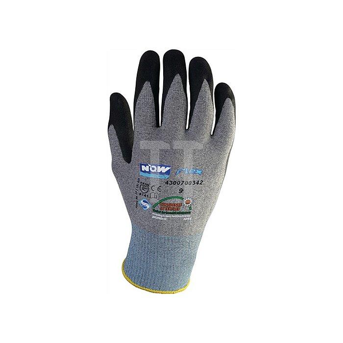 NOW Handschuh EN388 Kat.II Gr.8 HitFlex Nitrilbeschichtung schwarz ohne Noppen