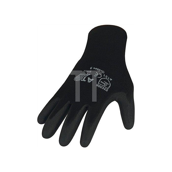 NOW Handschuhe EN388 Kat. II Gr.8 schwarz Nylon Feinstrick PU-teilbeschichtet