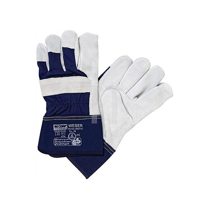 NOW Handschuhe Weser Gr.10 Rindspaltleder Stulpe gummiert
