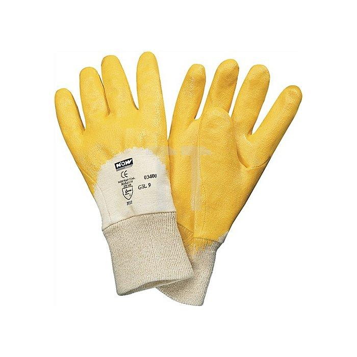 NOW Nitrilhandschuh EN388/420 Lippe Gr.7 gelb teilbeschichtet m.Strickbund