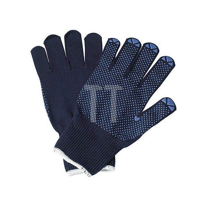NOW Strickhandschuhe Isar Gr.8 Baumwolle blau einseitig blau benoppt