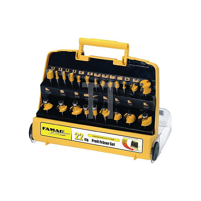 Oberfräsen-Set 22-tlg. Schaft-D.8,0mm HM-Bestückung i.Kunststoff Tragekoffer