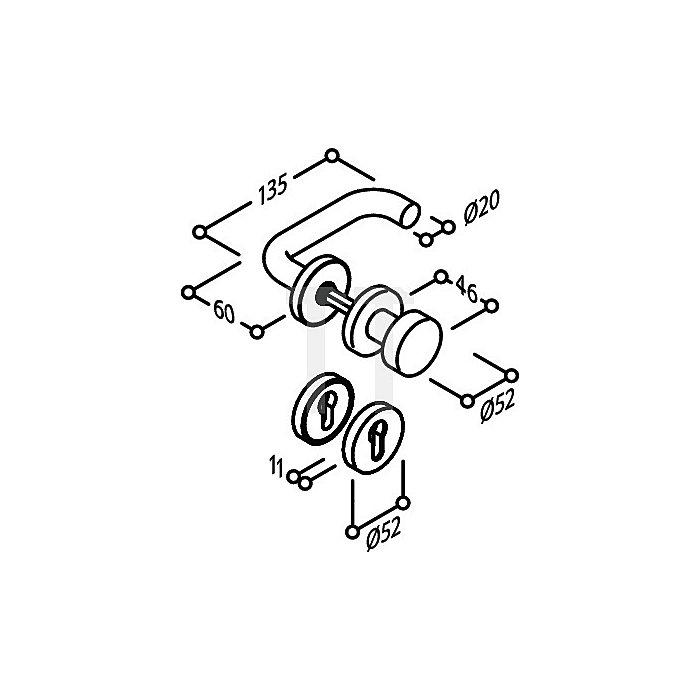 Objekt-Garnitur U-Form FHFeuerschutz DIN 18273 Rosetten-Wechsel-Grt.PZ VK 9mm VA