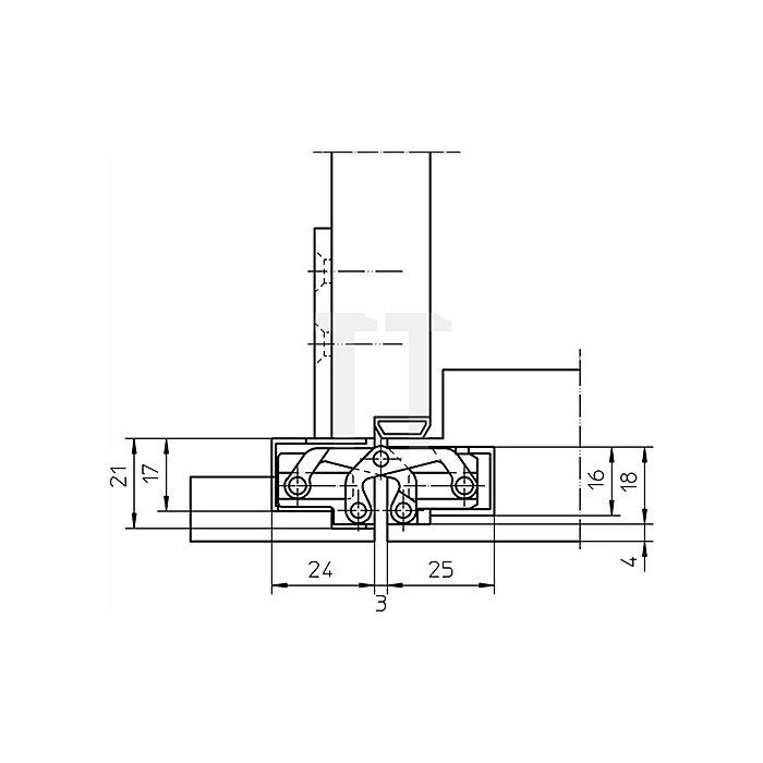 Objektband Tectus TE 240 3D Länge 155mm Tragfähigkeit 40kg Edelstahl-Look