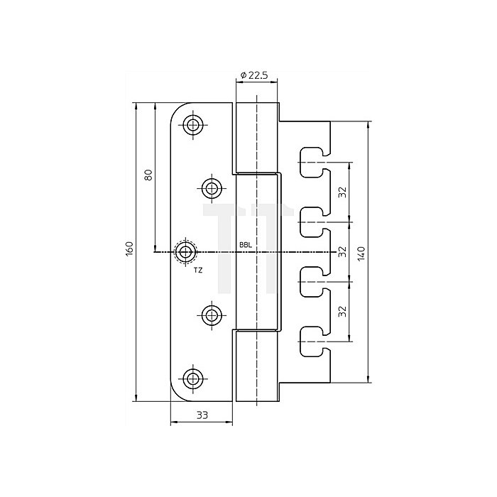 Objektband Variant VN 7729/160 Trgf.120kg VA matt gebürstet f.ungefälzte Türen