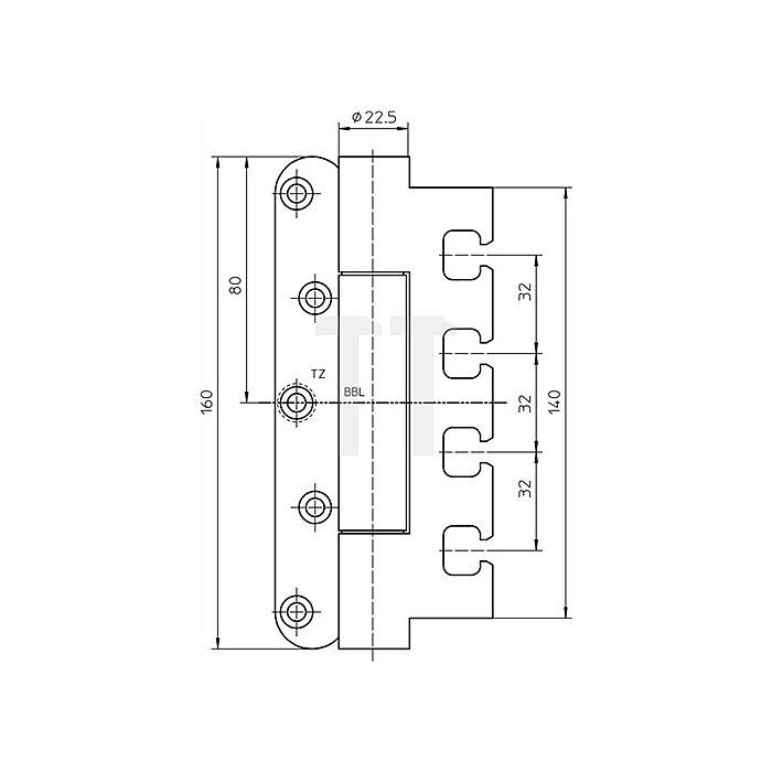 Objektband Variant VN 7939/160 Tragfähigkeit 160kg Stahl matt vernickelt / F2