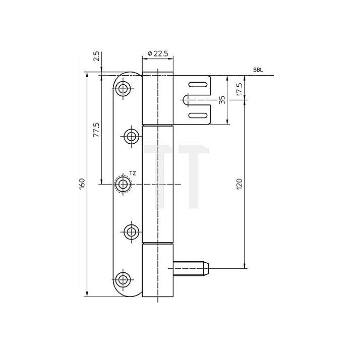Objektband Variant VN 8938/160 U D.22,5mm L.160mm DIN li.VA matt gebürstet