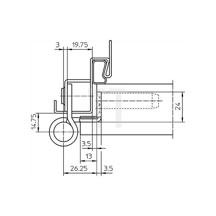 Objektband Variant VN 8938/160 U D.22,5mm L.160mm DIN re.VA matt gebürstet