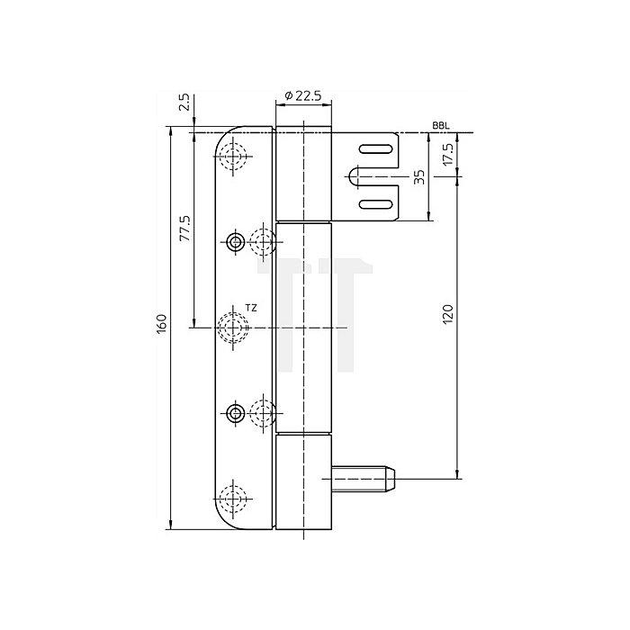 Objektband Variant VN 8938/160 U FD D.22,5mm L.160mm DIN re.Stahl