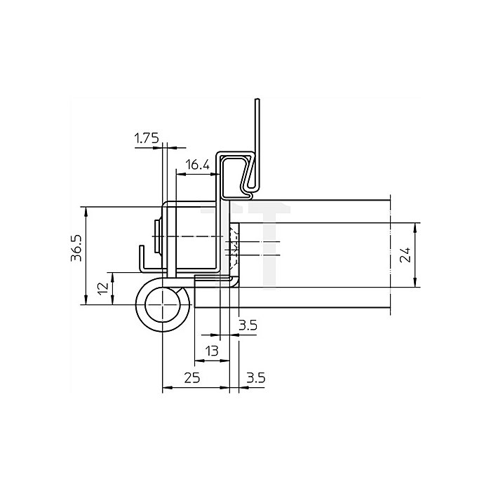Objektband Variant VN 8939/100 DIN re. Bandlänge 100mm Stahl matt vernickelt