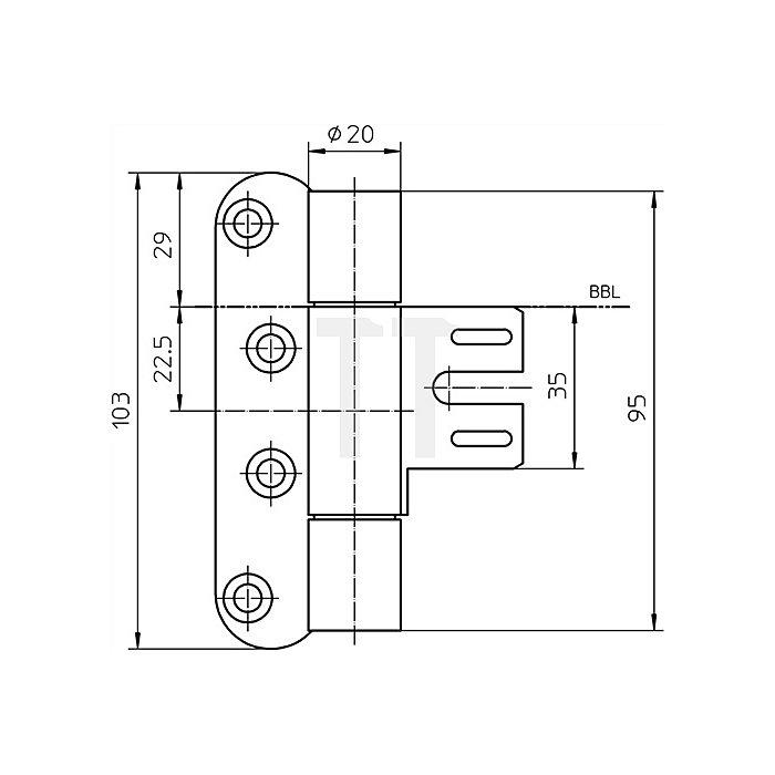 Objektband Variant VN 8939/100 FD DIN re.Band-L.95mm Stahl matt vernickelt