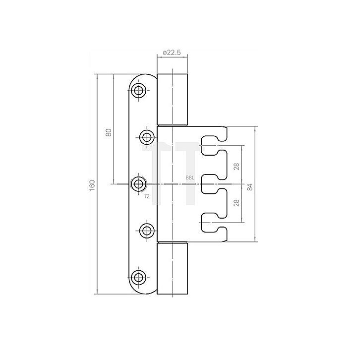 Objektband Variant VX 7729/160 Band-L.160mm Trgf.200kg Stahl matt vernickelt