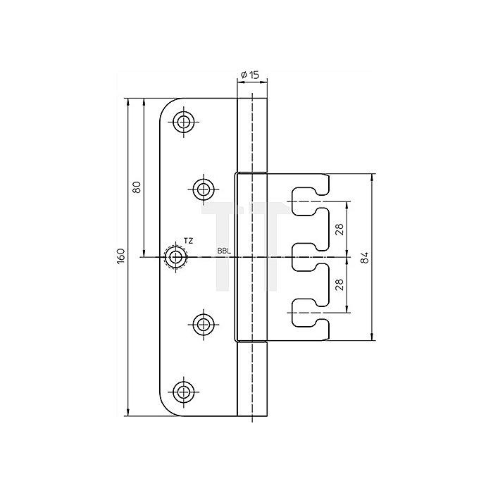 Objektband Variant VX 7729/160 Planum L.160mm D.15mm VA matt gebürstet ungefälzt