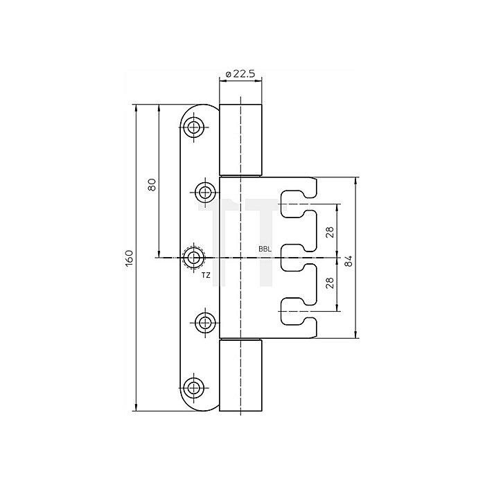 Objektband Variant VX 7939/160 Band-L.160mm Trgf.200kg Stahl matt vernickelt
