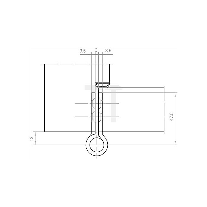 Objektband VN 2929/100 ER Bandlänge 95mm Trgf.100kg Edelstahl matt gebürstet