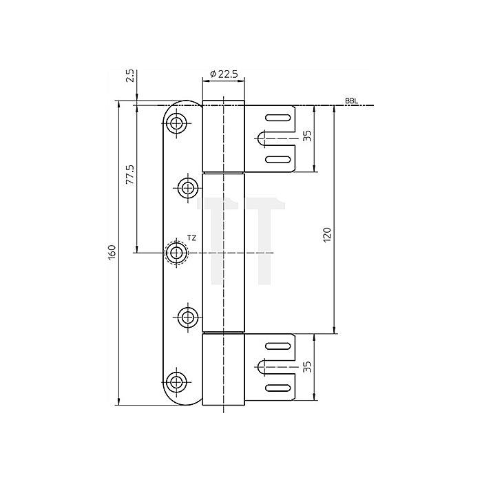 Objektband VN 8938/160 Band-L.160mm Rollen-D.22,5mm Stahl matt vernickelt