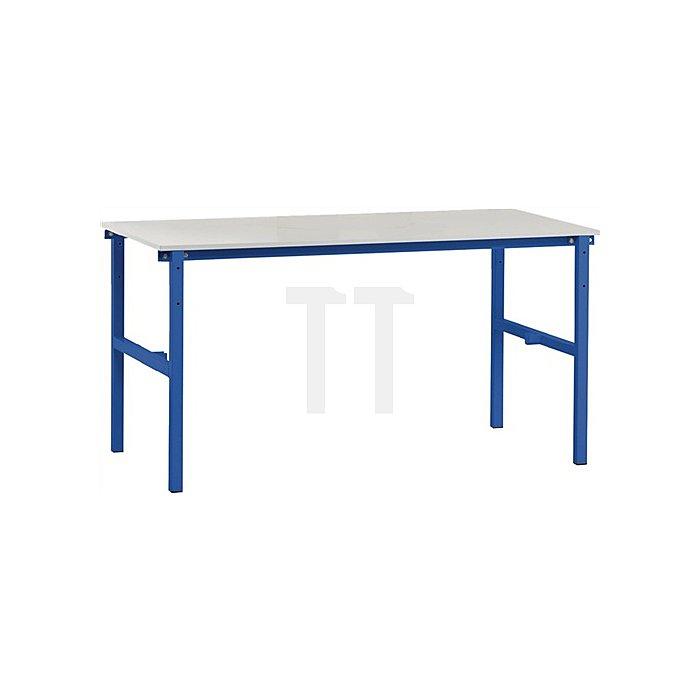 Packtisch B1600 x T800 x H850mm Grundgestell blau Tischplatte grau