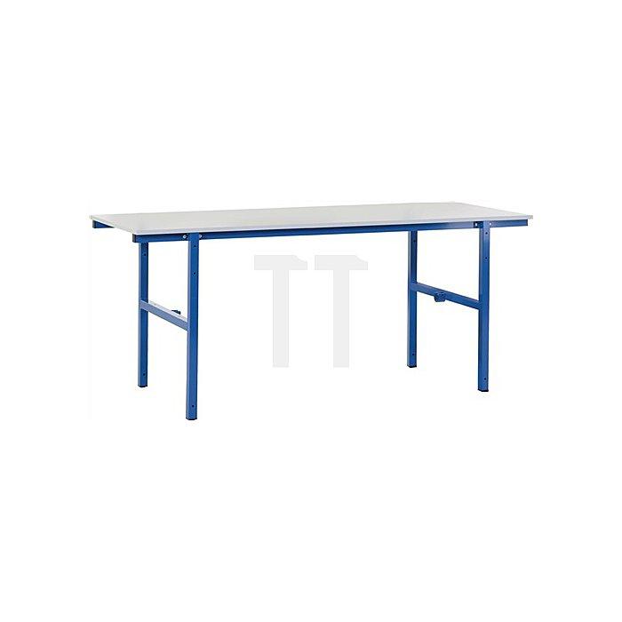Packtisch B2000 x T800 x H850mm Grundgestell blau Tischplatte grau