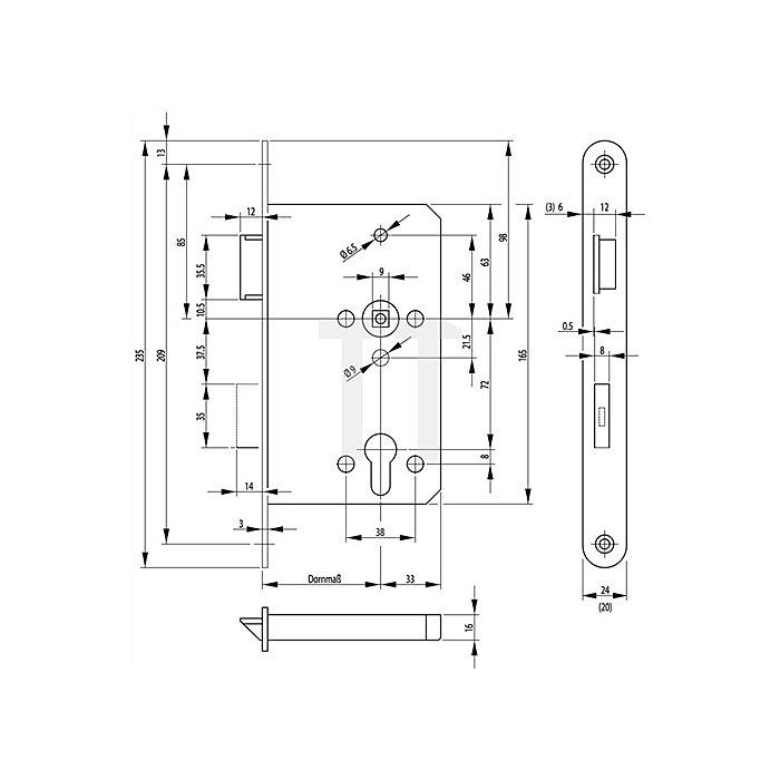 Panik-E-Schloss 2320 Panikfunktion B DIN re.Dorn 65mm Stulp 20mm VA abgerundet