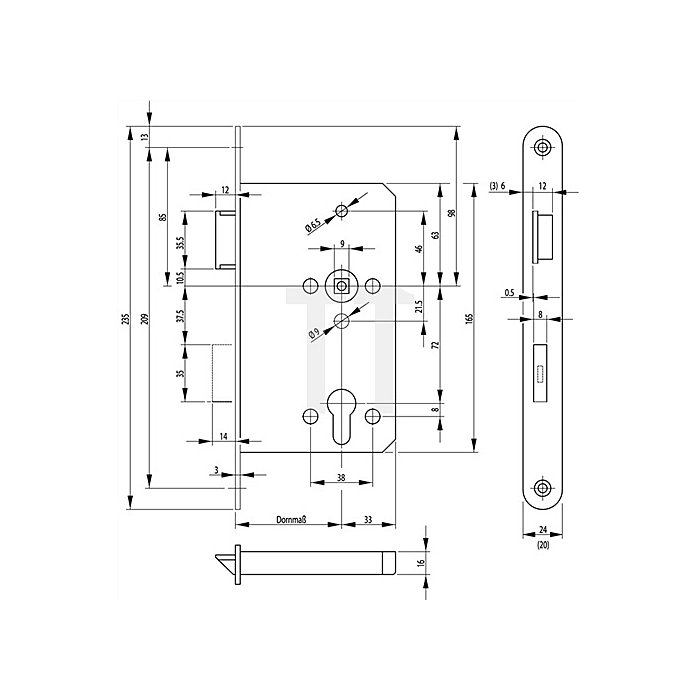 Panik-E-Schloss 2320 Panikfunktion B DIN re.Dorn 65mm Stulp 24mm VA abgerundet