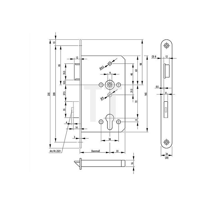 Panik-E-Schloss 2321 DIN re.Dorn 65mm Panik-Funktion B Stulp 24mm Stulp VA