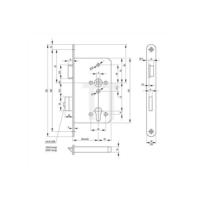 Panik-E-Schloss 2329 Dorn 65mm Panik-Funktion E DIN re.Stulp 24mm Edelstahl