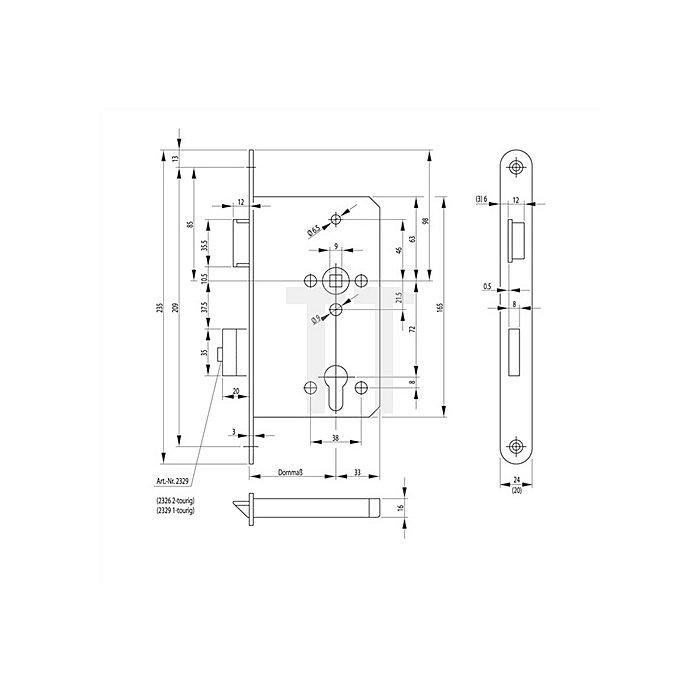 Panik-E-Sschloss 2326 Panikfunktion E DIN re.Dorn 65mm Stulp 20mm VA abgerundet