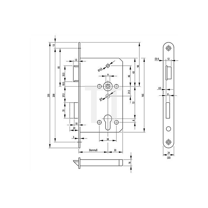 Panik-Einsteckschloss 1201 DIN 18250 DIN re. Dorn 65mm Entf. 72mm VK 9mm Funkt.E