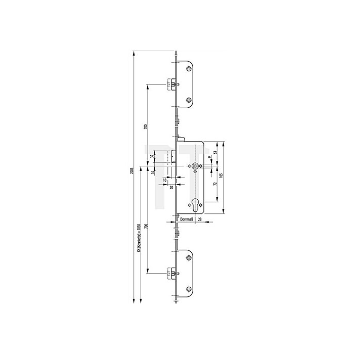 Panikschloss SECURY 2112 DIN re.Dorn 80mm Panik-Funktion C Stulp 20mm Stulp VA