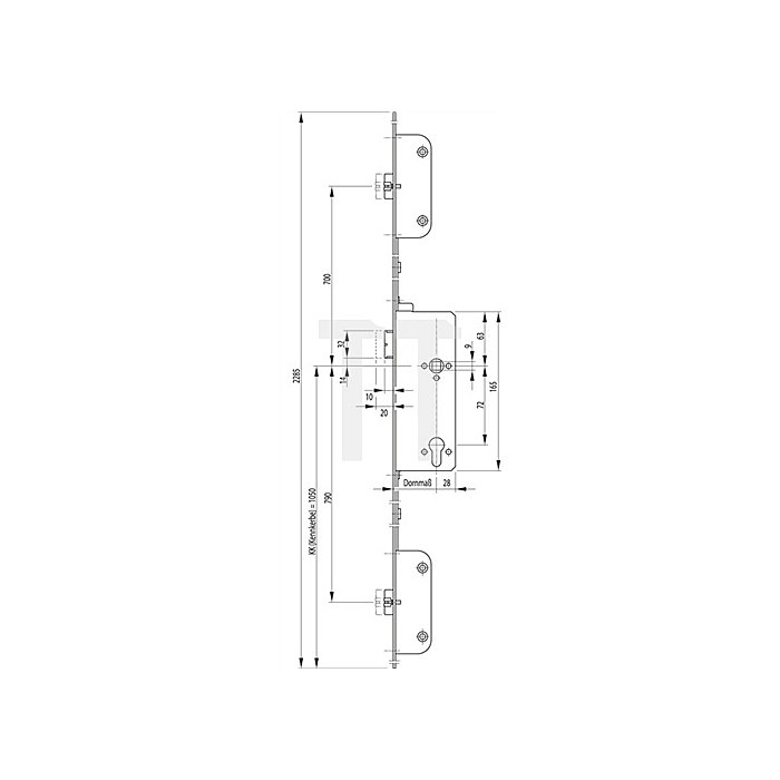 Panikschloss SECURY 2116 DIN re.Dorn 65mm Panik-Funktion E Stulp 20mm Stulp VA