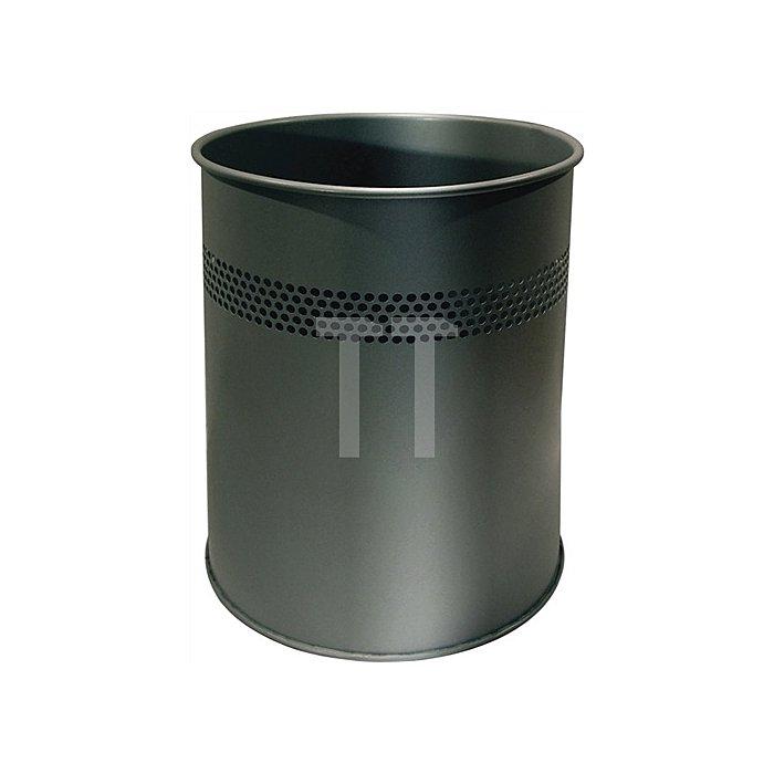 Papierkorb schwarz Metall Inhalt 15 l