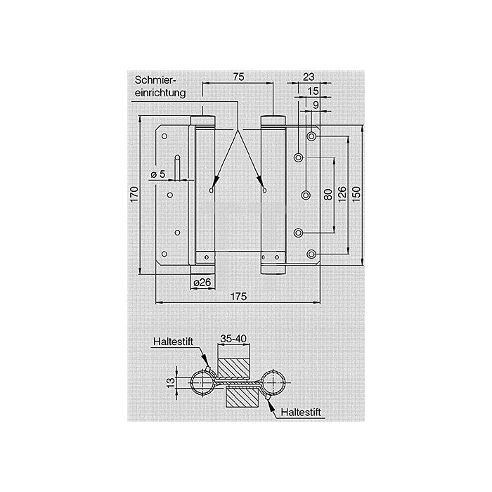 Pendeltürband Größe 36/125 Stahl verz. TS 35-40mm