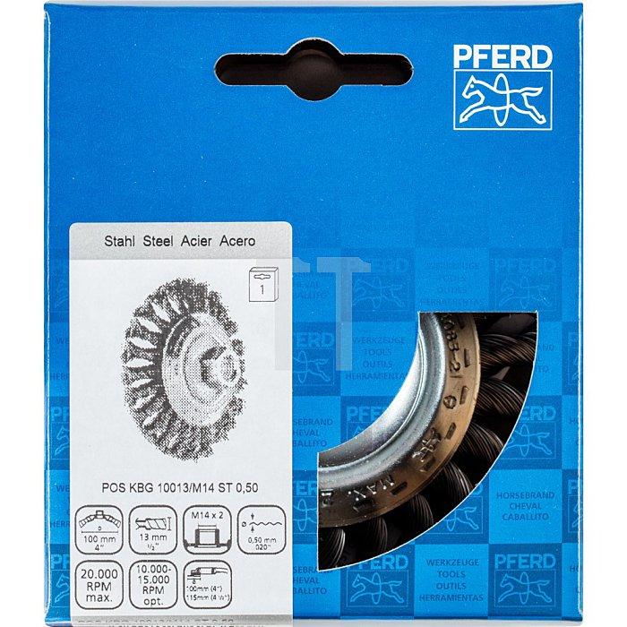 PFERD Kegelbürste mit Gewinde, gezopft KBG 10013/M14 ST 0,50