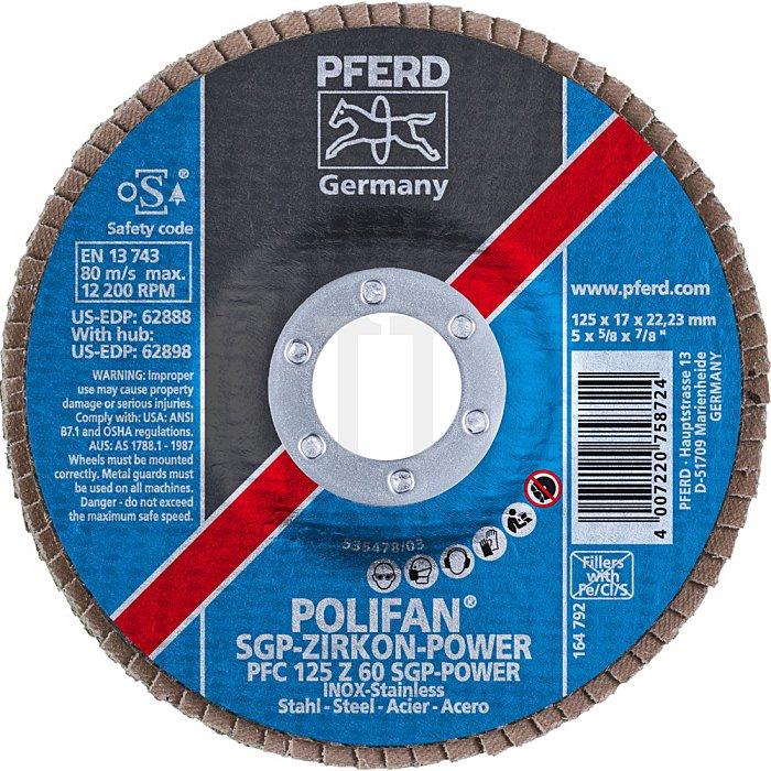 PFERD POLIFAN®-Fächerscheibe PFC 125 Z 60 SGP-POWER/22,23