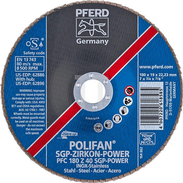 PFERD POLIFAN®-Fächerscheibe PFC 180 Z 40 SGP-POWER/22,23