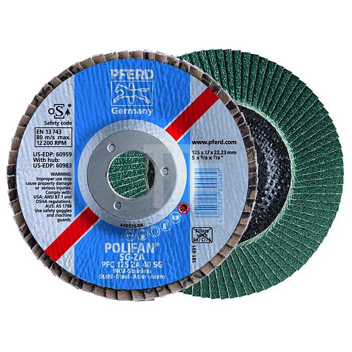 PFERD POLIFAN®-Fächerschleifscheibe für INOX, Ausführung SG ZA, Flache Ausführung PFF 180 ZA 40 SG/22,23