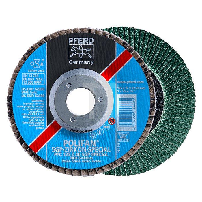PFERD POLIFAN®-Fächerschleifscheibe für Stahl, INOX, Ausführung SGP ZIRKON-SPECIAL, Konische Ausführung PFC 180 Z 80 SGP-SPECIAL/22,23