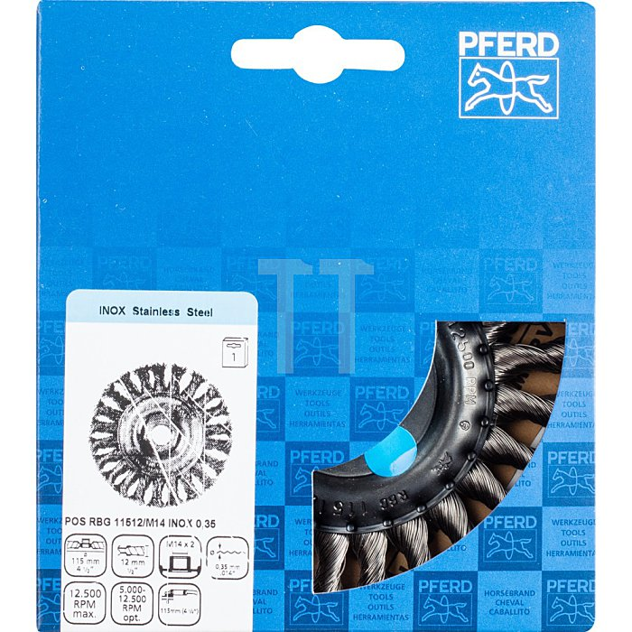PFERD Rundbürste, gezopft POS RBG 11512/M14 INOX 0,35