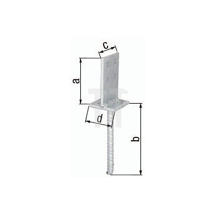 Pfostenträger mit Steg Steindolle Länge 200mm Durchmesser 20mm feuerverzinkt