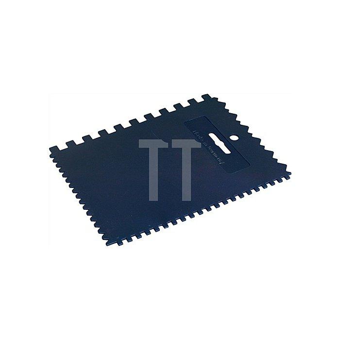 Plastikspachtel gezahnt 2seitg gezahnt 4x4x4/6x9x6mm Zahnungen elastisch