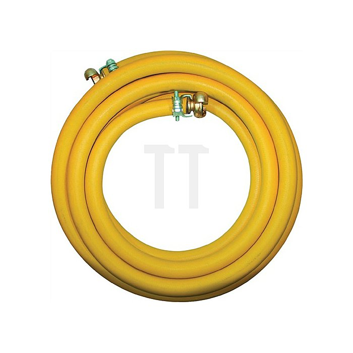 Pressluftgarnitur gelb Gummi 3/4Zoll D.19mm L.20m m.Kupplung 20bar Preis/RL