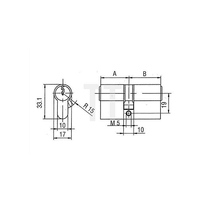 Profil-Doppelzylinder PZ 8800 DIN 18252 Kl. P 2 L. A 45mm L. B 45mm Massiv Ms.