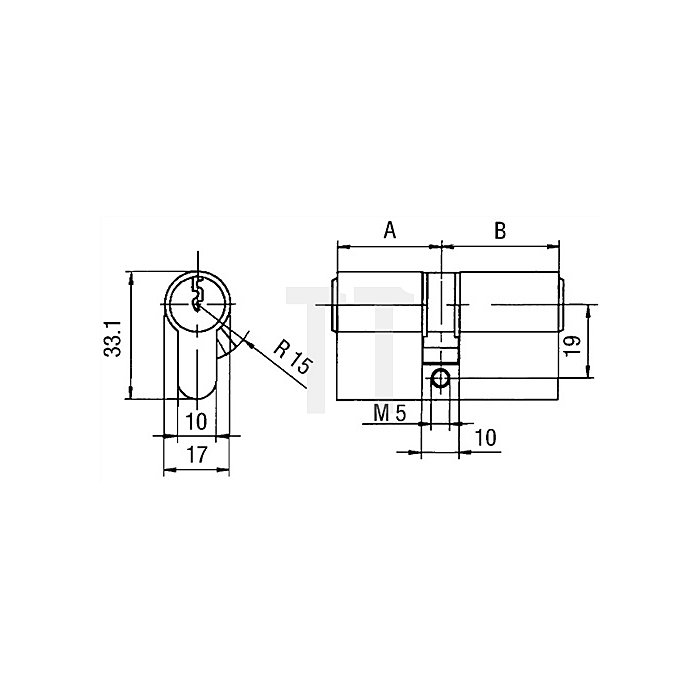 Profil-Doppelzylinder PZ 8802 DIN 18252 Klasse P 2 L A 27mm / B 40mm Messing